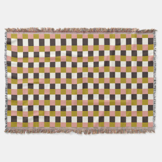 Gold Pink Chocolate Ivory Plaid Throw Blanket