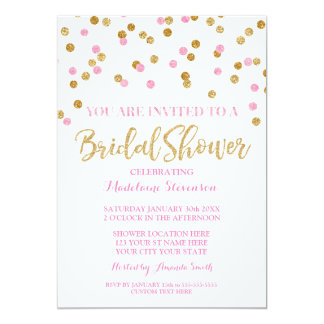 Gold Pink Confetti Bridal Shower Invitation