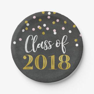 Gold Pink Confetti Chalkboard Graduation 2018 Paper Plate