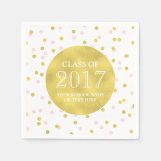 Gold Pink Confetti Class of 2017 Graduation Disposable Napkin