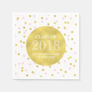 Gold Pink Confetti Class of 2018 Graduation Disposable Napkins