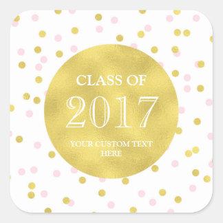 Gold Pink Confetti Graduation Class of 2017 Square Sticker