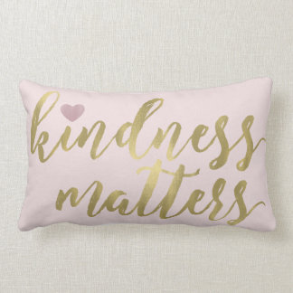 Gold Pink Confetti Kindness Matters with Heart Lumbar Pillow