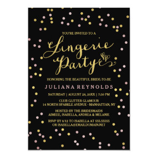 Gold & Pink Confetti Lingerie Party Invitation