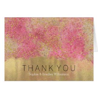 Gold Pink Confetti Watercolor Confetti Thank You Card