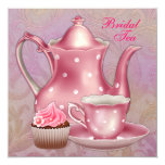 "Gold Pink Damask Bridal Tea Party 5.25"" Square Invitation Card"