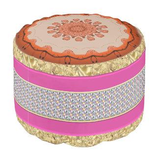 Gold Pink Diamond Sturdy Spun Polyester Round Pouf