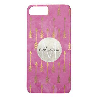 Gold Pink Dream Watercolor Arrows Monogram iPhone 8 Plus/7 Plus Case