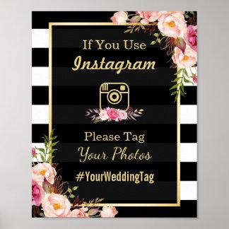 Gold Pink Floral Stripes | Instagram Wedding Sign