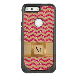 Gold & Pink Glitter Chevron Gold Band Defender OtterBox Commuter Google Pixel Case