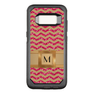 Gold & Pink Glitter Chevron Gold Band Defender OtterBox Commuter Samsung Galaxy S8 Case
