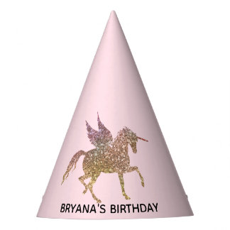 Gold Pink Glitter Flying Unicorn Birthday Party Party Hat