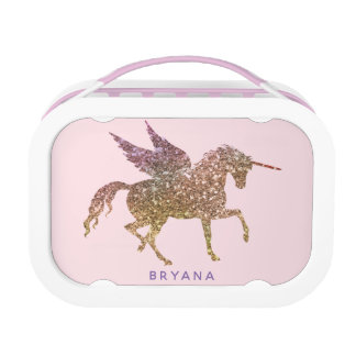 Gold Pink Glitter Flying Unicorn Personalized Lunch Box