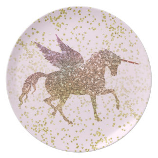 Gold & Pink Glitter Unicorn Flying Pegasus Horse Plate