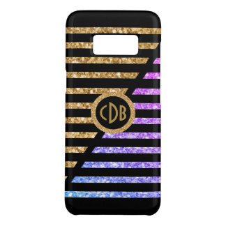 Gold & Pink Glitter With Black & White Stripes Case-Mate Samsung Galaxy S8 Case