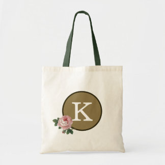 Gold Pink Green Rose Pattern Elegant Monogram Tote