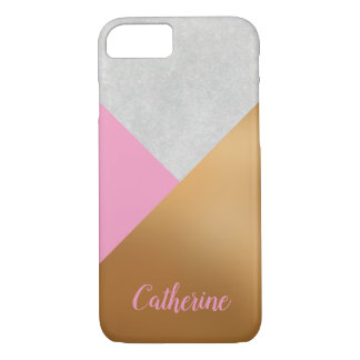 Gold, Pink, & Grey Geometric Personalized Mobile Case-Mate iPhone Case
