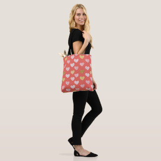 Gold Pink Hearts Pattern Tote