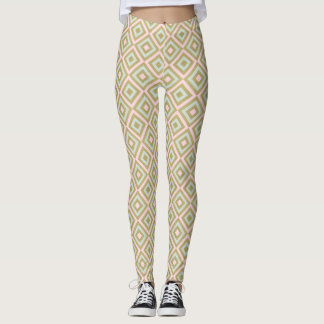 Gold Pink Mint Diamond Geometric Print Leggings