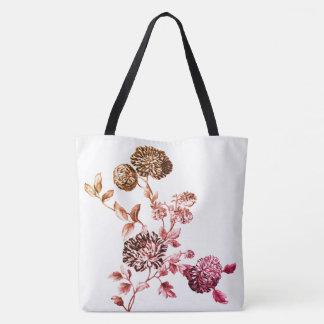 Gold & Pink Modern Botanical Floral Toile Tote Bag