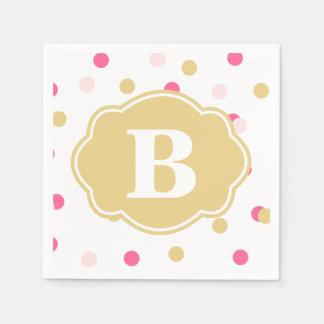 Gold Pink Polka Dot Monogram Napkins Standard Cocktail Napkin