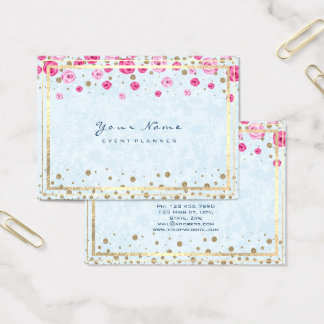 Gold Pink Roses Confetti Cobalt Sapphire Blue Lux Business Card