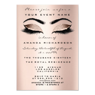 Gold Pink Skinny Makeup Glitter Bridal 16th Eyes Card