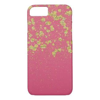 Gold Pink Sparkle Confetti Glittery Dots iPhone 7 Case