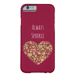Gold Pink Sparkle Glittery Hearts Barely There iPhone 6 Case