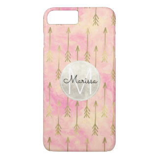 Gold Pink Watercolor Arrows Abstract Monogram iPhone 8 Plus/7 Plus Case