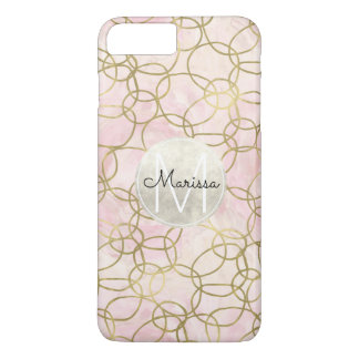 Gold Pink Watercolor Circles Abstract Monogram iPhone 8 Plus/7 Plus Case