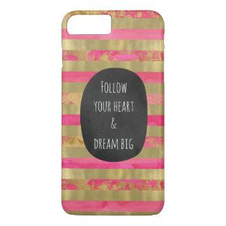 Gold Pink Watercolor Stripes iPhone 8 Plus/7 Plus Case