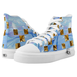 Gold pixels in blue paint high tops