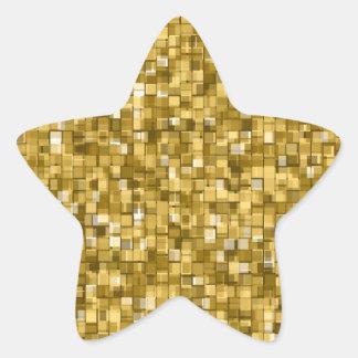 Gold pixels star sticker
