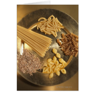 Gold Plate with pasta and grains of wheat Card
