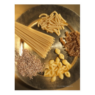 Gold Plate with pasta and grains of wheat Postcard