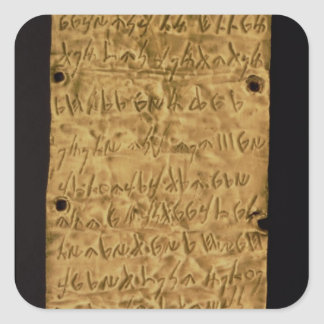 Gold plate with Phoenician inscription, from Santa Square Sticker