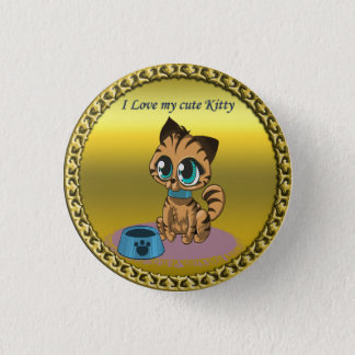 Gold playful fluffy cute kitten with cat eyes 1 inch round button