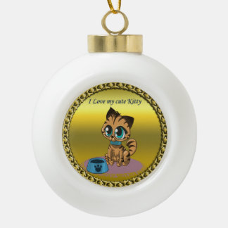 Gold playful fluffy cute kitten with cat eyes ceramic ball christmas ornament