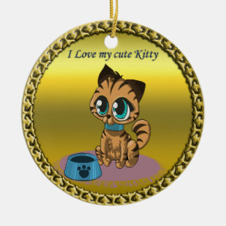 Gold playful fluffy cute kitten with cat eyes ceramic ornament