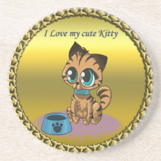 Gold playful fluffy cute kitten with cat eyes coaster
