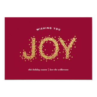 Gold Pointillism Shimmering Joy Holiday Card