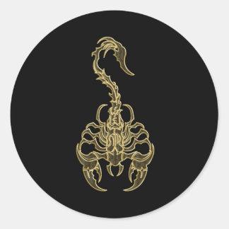 Gold poisonous scorpion very venomous insect classic round sticker