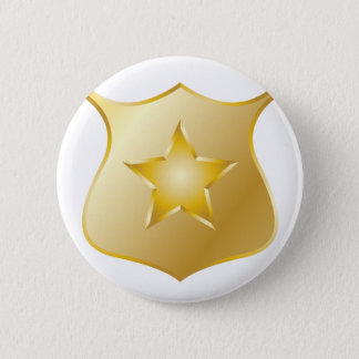 Gold Police Badge 2 Inch Round Button