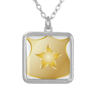 Gold Police Badge Silver Plated Necklace