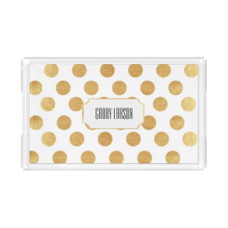 Gold Polka Dot Custom Acrylic Tray