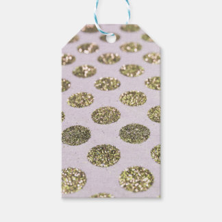 Gold Polka Dot Glitter Look Gift Tags