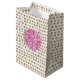 Gold polka dot Happy Birthday fun Typographic Medium Gift Bag