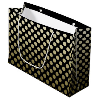 Gold Polka Dot on Black Large Gift Bag