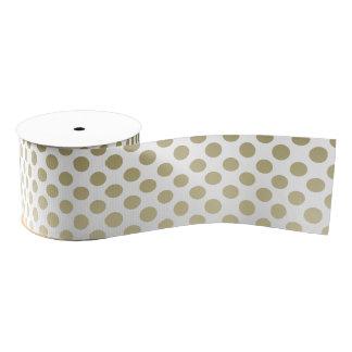 Gold Polka Dot on white Grosgrain Ribbon